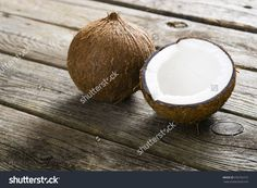 Coconuts On Natural Old Wood Table Background Стоковые фотографии 376752772 : Shutterstock