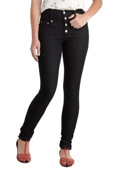Karaoke Songstress Jeans in Black, #ModCloth High waisted, dark wash pants are perfect for hourglass figures <3