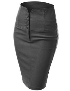 Womens Black Pencil Skirt with 4 Buttons & Back Slit Corporate Wear, Pencil Skirt Black, Pencil Skirts, Work Skirts, Sexy Skirt, Work Attire, Skirt Outfits, Women's Fashion Dresses, African Fashion