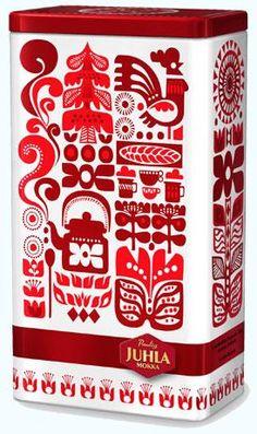 2009 design with Scandinavian inspiration for Juhla Mokka coffee. Design is by Sanna Annukka. Coffee Packaging, Cute Packaging, Packaging Design, Fabric Design, Pattern Design, Print Design, Graphic Design, Scandinavian Folk Art, Marimekko