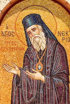 Memorial to Ayios (Saint) Nektarios who died on Aegina Island in Greek Saronic Islands Byzantine Icons, Byzantine Art, Pictures Of Christ, Pictures Images, Corfu, Paintings Of Christ, Greek Icons, Religious Icons, Ancient Ruins