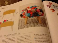 Pom pom footstall or cushion. Mollie Makes 64