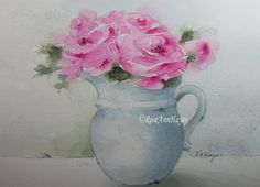 Original watercolor painting of pink roses in an old white pitcher by RoseAnn Hayes, available in Etsy shop.