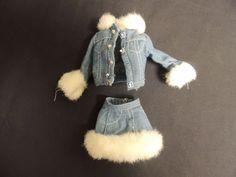 Vintage Barbie Mattel Denim Fun Fur Shirt Jacket Skirt Midge Original Label Set