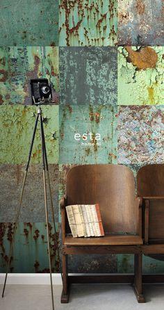 Tapetti WallpaperXXL Patchwork Weathered Emerald Green 158203 46,5 cm x 8,37 m - Taloon.com