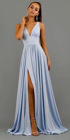 Prom dresses blue - Elegant VNeck Sleeveless Prom Dress Long Evening Gowns WIth Split – Prom dresses blue Split Prom Dresses, Senior Prom Dresses, Pretty Prom Dresses, Prom Outfits, V Neck Prom Dresses, Pink Prom Dresses, Prom Dresses Online, Dress Online, Sexy Dresses