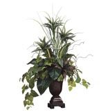 45 inch Dracaena, Bromeliad, and Potato Leaf Arrangement in Urn
