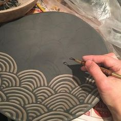 #pottery#sgraffito #clay #ceramics #pattern don't feel like I have accomplished anything until i am here. Peace people