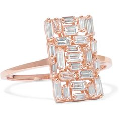 Suzanne Kalan 18-karat rose gold diamond ring ($2,775) ❤ liked on Polyvore featuring jewelry, rings, rose gold, diamond jewelry, baguette diamond ring, druzy jewelry, drusy ring and baguette ring