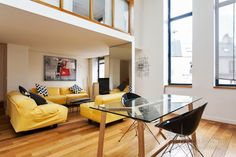 Stylish modern two-level duplex apartment for rent at Rue Laugier in the 17th district of Paris. It's very light, colorful and comfortable apartment for long term rental in Montmartre.