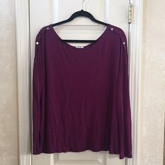 Boatneck Top Boatneck long sleeve with button detail on shoulders. Old Navy Tops Tees - Long Sleeve