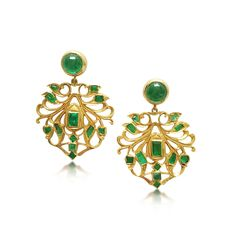 Bespoke pair of emerald and 18ct yellow gold Indian style drop earrings with detachable cabochon emerald stud top.  Remodelled from an existing pair of earrings.