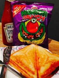 Retro lunch now available from Pitfield Winchester!  We love monster munch!  #retro #food #toastie #lunch #snacks