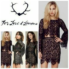 For Love & Lemons Vika Lace Crop Top For Love and Lemons Vika Lace Crop Top in black. Not your average crop top. This lacy number is made extra dreamy with scalloped eyelash trim and billowy bell sleeves to channel your inner flower child!   No trade, discount with bundle! Considering all reasonable offers made via the blue offer button only! For Love and Lemons Tops Crop Tops