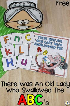 There Was An Old Lady Who Swallowed The ABC's Letter Recognition Activity - - This There Was An Old Lady Who Swallowed The ABC's Letter Recognition Activity is a fun, hands-on way for pre-readers to work on letter recognition. Preschool Letters, Preschool Books, Learning Letters, Kindergarten Literacy, Preschool Learning, Teaching Abcs, Preschool Lessons, Math Lessons, Teaching Resources