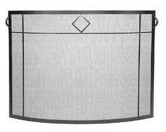 Diamond Curved Fire Screen in Graphite