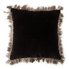 Zara home. Black velvet feather cushion