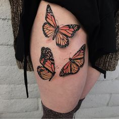 """242 Likes, 13 Comments - Ari (@arianatattoos) on Instagram: """"Finished up these monarchs yesterday. Thank you for making the drive Vivian ! . . #tattoo #tattoos…"""""""
