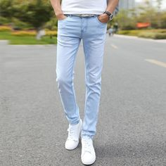>> Click to Buy << Men Elastic Casual Straight Jeans 2016 New Mid Cowboy Pants Skinny Blue Men Brand Jeans Stretch Jeans Men Hot Size 27-36 rwy801 #Affiliate