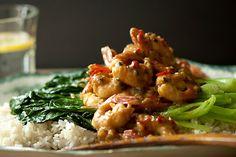 Spicy spot prawns with tah tsai