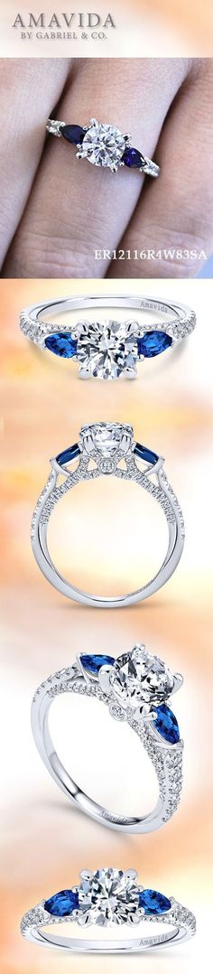AMAVIDA by Gabriel & Co.-Voted #1 Most Preferred Fine Jewelry and Bridal Brand. 18k White Gold Round 3 Stones Engagement Ring