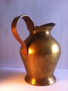 Handarbeit German Arts and Crafts Hammered Copper Handled Jug - Signed
