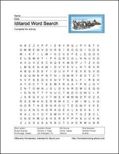Iditarod Wordsearch, Vocabulary, Crossword, and More: Iditarod Wordsearch