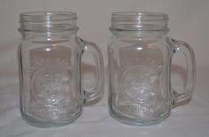 Wedding Mason Drinking Jars Libbey County Fair Glass Mugs Set of 2 Rooster #Libbey