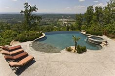 Discover 32 amazing infinity pool designs for your inspiration. Browse photos of infinity edge pool designs. Infinity Pools, Infinity Pool Backyard, Infinity Edge Pool, Backyard Pool Designs, Small Backyard Landscaping, Swimming Pool Designs, Sloped Backyard, Backyard Pools, Pool Decks