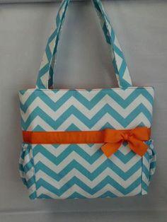 NEW ....CHEVRON  in Aqua ..  Orange Accents  ...   Diaper Bag ... Bottle Pockets ... Monogrammed  FReE | TweedleTotes -