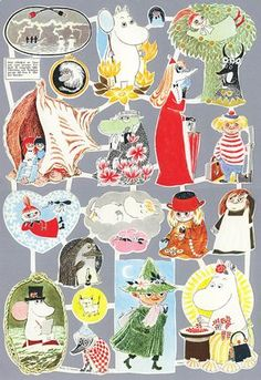 Moomin glossy pictures from Suomenlinna Toy Museum, Helsinki, Finland. Character Illustration, Illustration Art, Moomin Valley, Tove Jansson, Little My, Cute Characters, Old Toys, Helsinki, Nostalgia