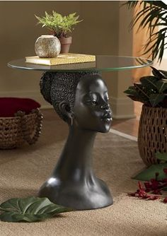 Her graceful, serene and perfectly poised demeanor is strong enough to calm the room and balance a glass.Buy Now, Pay Later Credit Shopping at Seventh Avenue! Gray Interior, Interior Exterior, Unique Furniture, Furniture Design, African Furniture, Art Studio Design, African Home Decor, My Ideal Home, Interior Concept