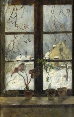 """Snow Scene through a Winter Window' by Henry Alexander, 1870"