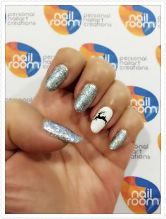 Christmas nail. Silver glitter with reindeer decal on accent nail nailart