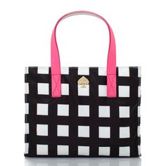 kate spade | berry street elise - perfect tote for the office and it's an Elise too! ♥♠ (black/ cream with pink handle)