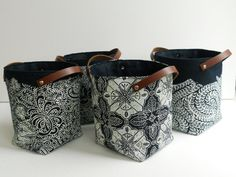 Indigo linen storage Pod Selection with leather by papatotoro, $23.00