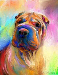 Colorful Shar Pei Dog Portrait Painting Print by Svetlana Novikova