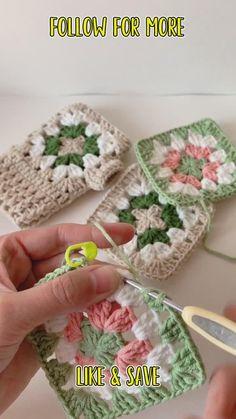 Crochet Coaster Pattern, Granny Square Crochet Pattern, Crochet Squares, Crochet Granny, Crochet Blanket Patterns, Crochet Motif, Crochet Designs, Easy Crochet, Granny Squares