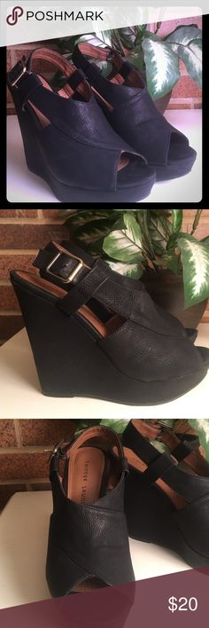 Chinese Laundry Black Wedges Chinese Laundry Black Wedges: black leather peep toe wedges; 5 in wedges with platform- very comfortable; size 8; gently worn with slight scratch on heel seen in last picture; these go great with jeans or a dark dress and are so comfortable you can dance the night away!!! Chinese Laundry Shoes Wedges