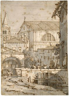 Canaletto - Architectural Capriccio - Pen and brown ink, with gray wash, over graphite and traces of black chalk 11 1/4 x 8 1/16 inches