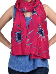 Pink-Blue Clamp Resist Silk Stole