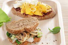 Σάντουιτς με μαύρο ψωμί, µανιτάρια και γραβιέρα - Συνταγές | γαστρονόμος Bread Art, Quick Recipes, Artichoke, Asparagus, Healthy Snacks, Sandwiches, Food And Drink, Favorite Recipes, Foods