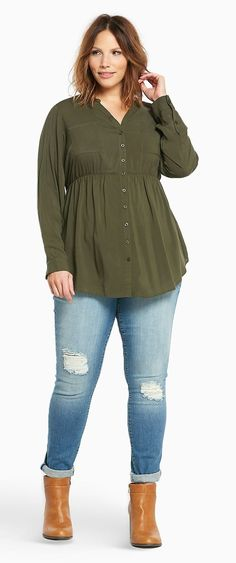 50bd6dce7ac Plus Size Button Front Tunic Night Outfits, Work Outfits, Spring Outfits, Plus  Size
