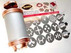 Vintage Mirro Cookie Press Copper Knob Aluminum Spritz Cookie Maker w/ Disks Tips Recipes Instructions by WildPlumTree on Etsy