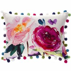 Add some pretty floral style to your room with this oblong Bluebellgray cushion. The Ebba's oversized bloom pattern transports you to a dreamy summer garden. Trimmed with gorgeous coloured pompoms that perfectly pick out the tones of the watercolours, this cushion is perfect for lounge armchairs, sofas or bedrooms. Each cushion is backed with a beautiful quality natural coloured linen mix cloth. Complete with luxury feather inner pad. Please note each cushion is handmade, so dimensions may…