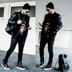 Zara Bomber Jacket, Givenchy Rottweiler, Zara Skinny Jeans, Zara High Top Sneakers, Zara Leather Backpack