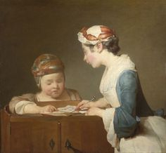The Young Schoolmistress  probably 1735-6, Jean-Siméon Chardin    The National Portrait Gallery, UK