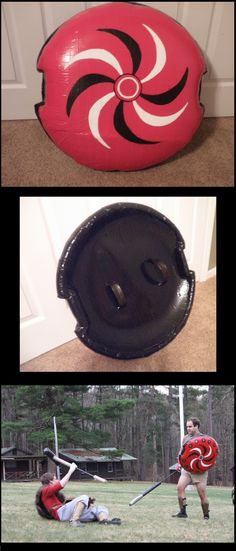 I made this shield from a 2' plastic snow saucer, open-cell foam, and duct tape. Safe for shield-bashing!