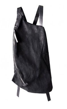 YTN №7 black asymmetric leather backpack