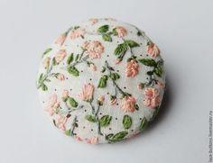 Купить Пуговица авторская Розовый сад 4см - пуговицы, пуговицы декоративные, пуговица декоративная